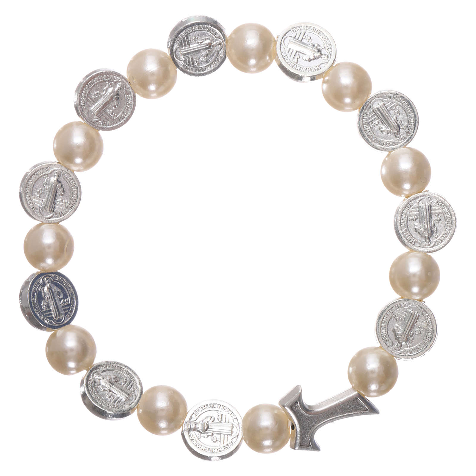Elastischer Zehner Armband Medaille Hl. Benedikt und weissen Perlen 4