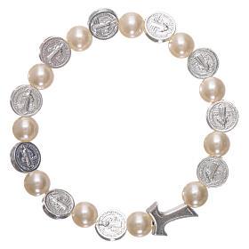 Elastischer Zehner Armband Medaille Hl. Benedikt und weissen Perlen s2