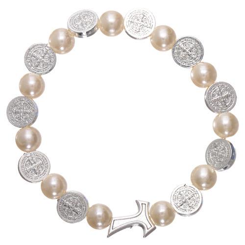 Elastischer Zehner Armband Medaille Hl. Benedikt und weissen Perlen 1
