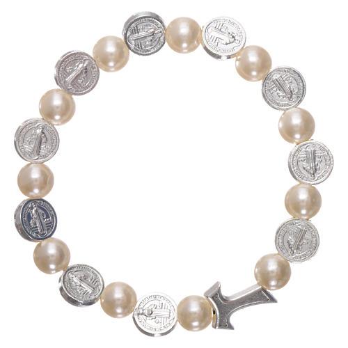Elastischer Zehner Armband Medaille Hl. Benedikt und weissen Perlen 2