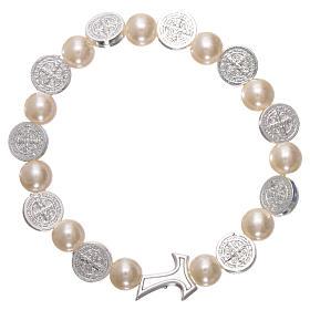 Bracelet dizainier élastique grains plastique et croix Tau métal St Benoît grains lisses ronds s1
