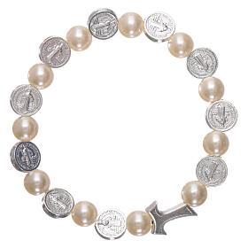 One decade rosary bracelet in plastic with metal Tau cross and 5x6 mm beads, St Benedict s2