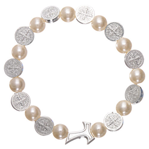 One decade rosary bracelet in plastic with metal Tau cross and 5x6 mm beads, St Benedict 1