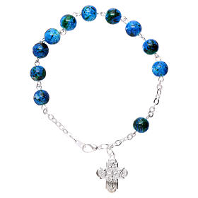 Single decade rosary bracelets: Rosary decade bracelet in glass with 6x6 mm grains and fastener, blue