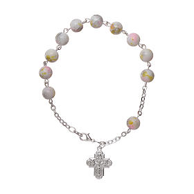 Rosary decade bracelet in glass with 6x6 mm grains and fastener, white s1