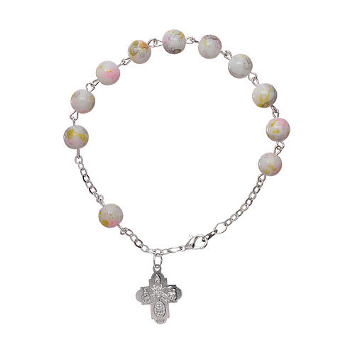 Rosary decade bracelet in glass with 6x6 mm grains and fastener, white 2