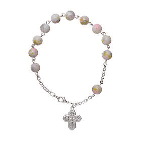 One decade rosary bracelet with 6x6 mm white spotted glass beads and clasp s1