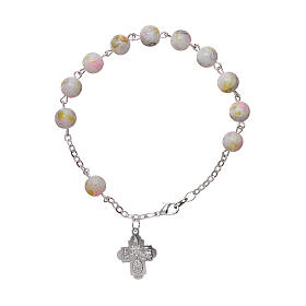 One decade rosary bracelet with 6x6 mm white spotted glass beads and clasp s2