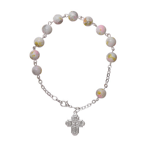 One decade rosary bracelet with 6x6 mm white spotted glass beads and clasp 1