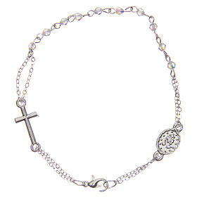 Rosary bracelet with closure, transparent faceted beads 1x1 mm, with cross and medal s2