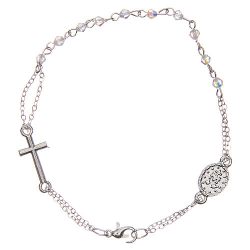Rosary bracelet with closure, transparent faceted beads 1x1 mm, with cross and medal 2