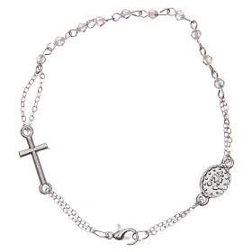 Bracelet dizainier fermoir chaîne grains losange transparents 1 mm croix et médaille s2