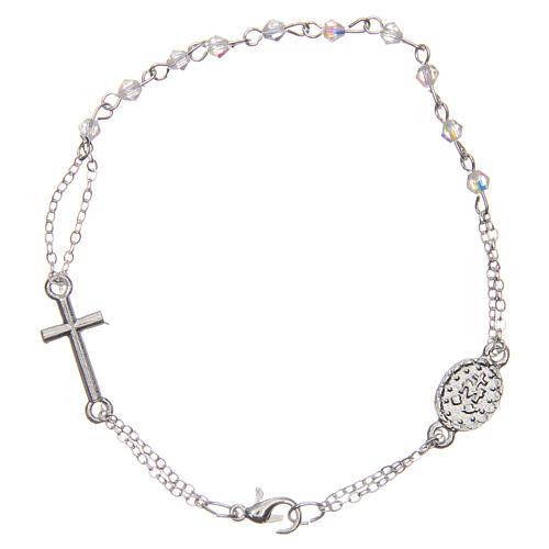 Bracelet dizainier fermoir chaîne grains losange transparents 1 mm croix et médaille 2