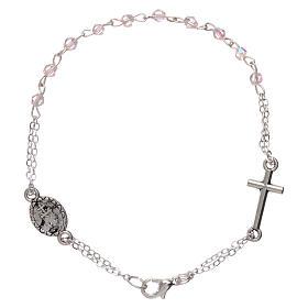 Bracciale decina chiusura catena grani rombo rosa croce e medaglia grani 1 mm s2