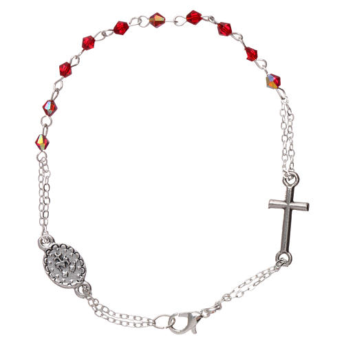 Rosary decade bracelet with 1x1 mm faceted ruby red grains, fastener and miraculous medal 2
