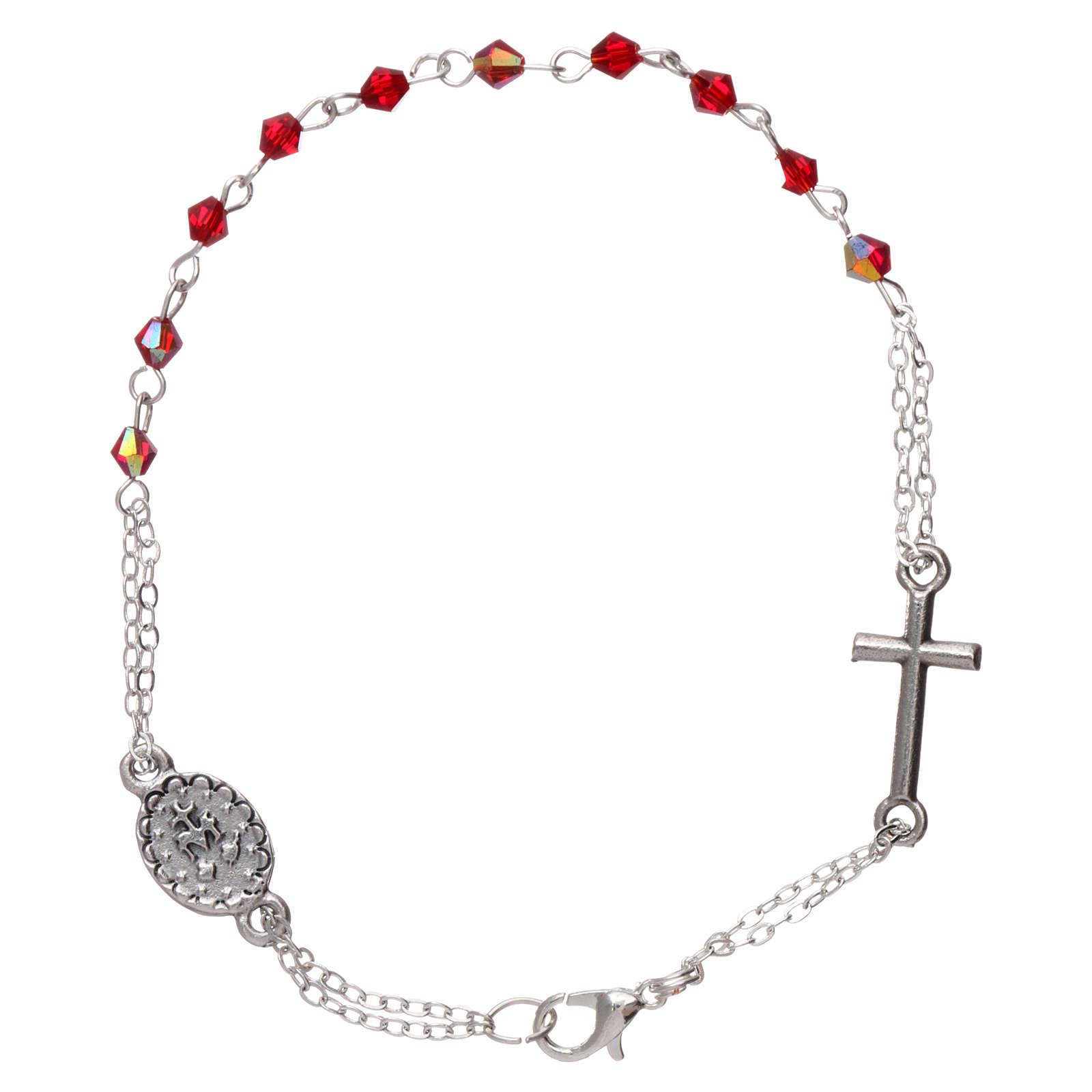 Bracciale decina chiusura catena grani rombo rubino croce e medaglia grani 1 mm 4