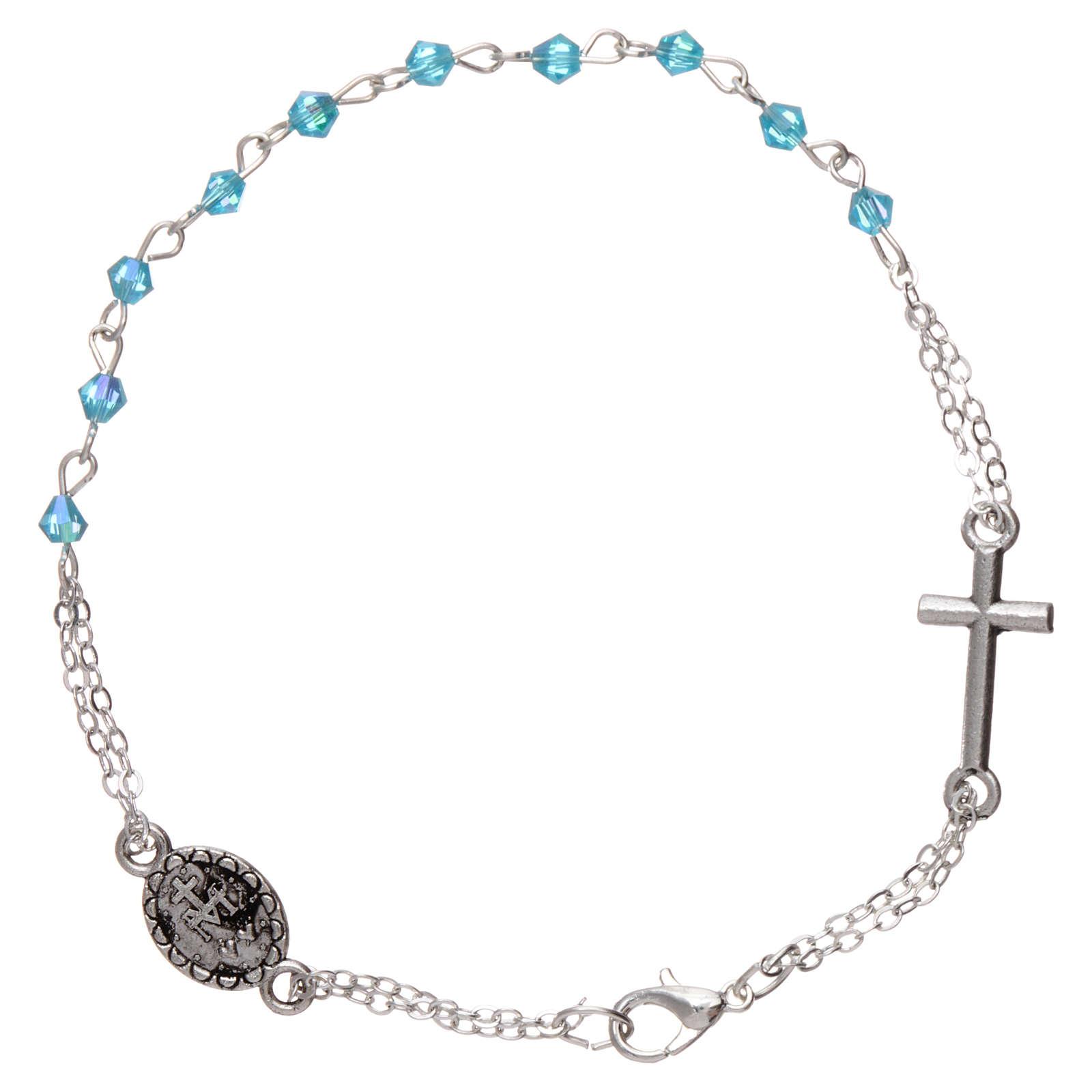 Bracelet dizainier chaîne grains 1 mm à facettes bleu eau croix et médaille 4