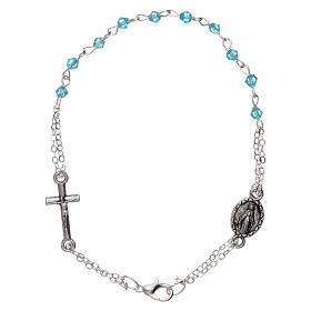 Bracelet dizainier chaîne grains 1 mm à facettes bleu eau croix et médaille s1