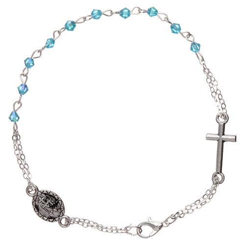 Bracelet dizainier chaîne grains 1 mm à facettes bleu eau croix et médaille 2