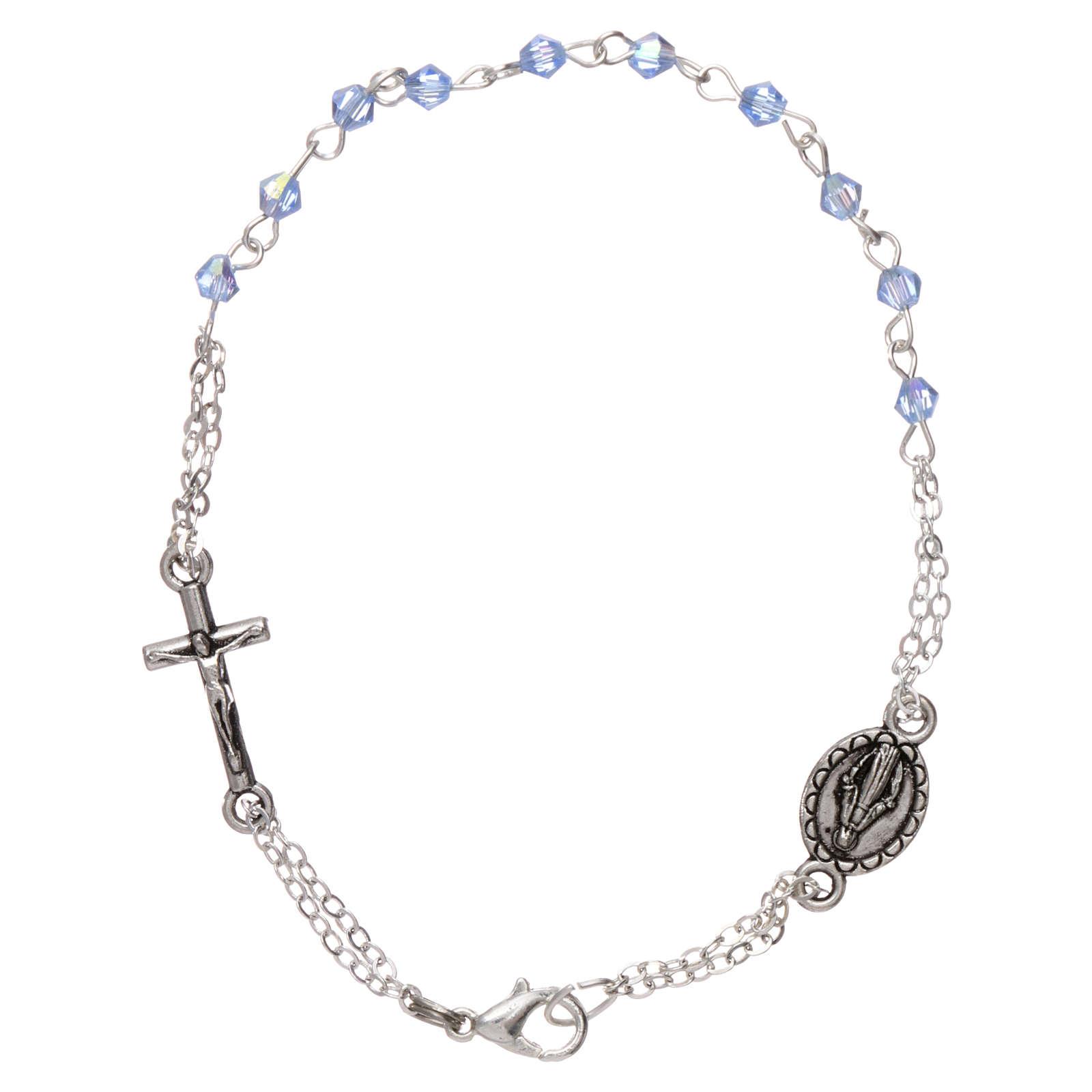 Pulsera decena cierre cadena granos rombo celeste cruz y medalla granos 1 mm 4