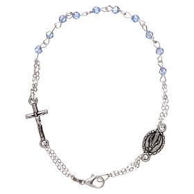 Pulsera decena cierre cadena granos rombo celeste cruz y medalla granos 1 mm s1
