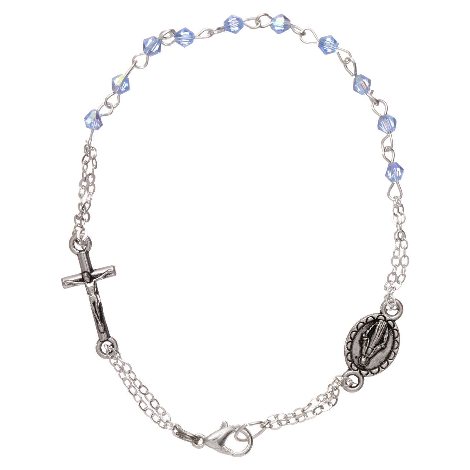 Bracciale decina chiusura catena grani rombo celeste croce e medaglia grani 1 mm 4