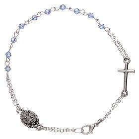 Bracciale decina chiusura catena grani rombo celeste croce e medaglia grani 1 mm s2