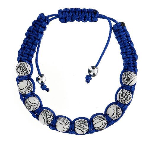 Pulsera Decena Virgen Guadalupe cuerda azul 5 mm 1