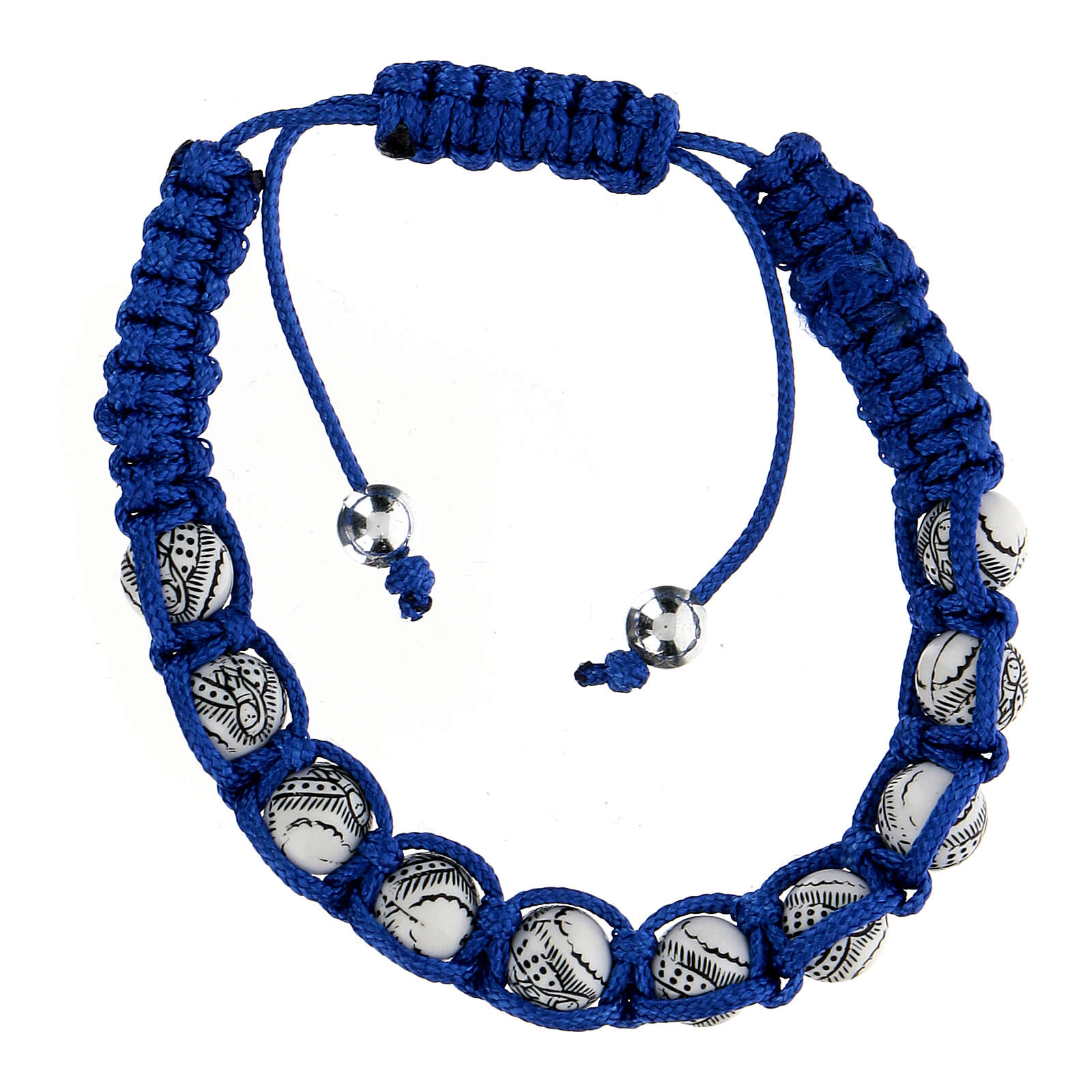 Decade rosary bracelet, Virgin of Guadalupe blue cord 5 mm 4
