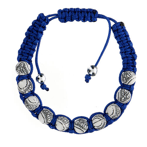 Decade rosary bracelet, Virgin of Guadalupe blue cord 5 mm 1