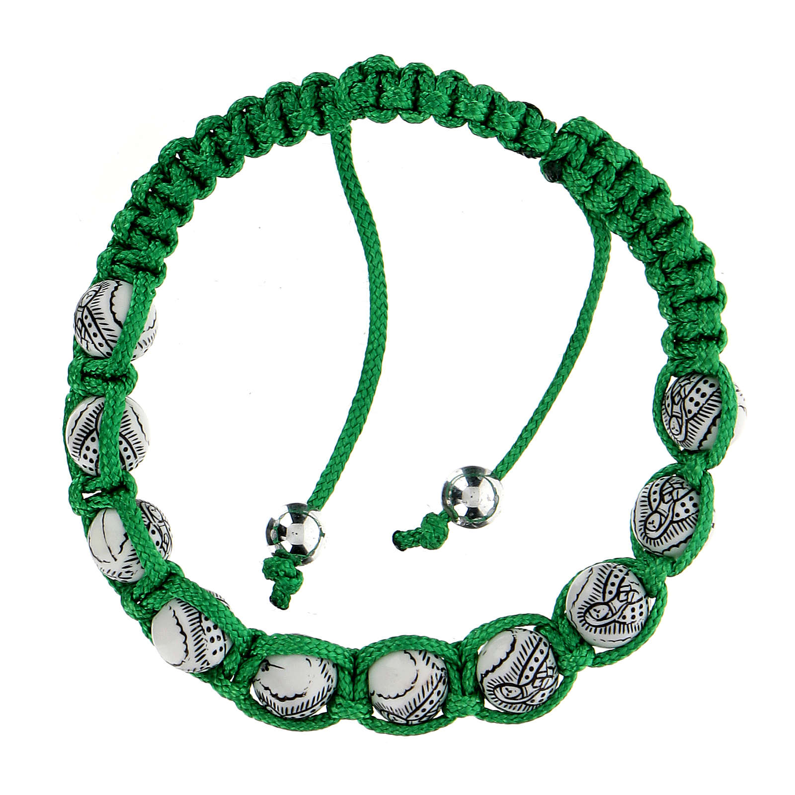 Bracciale Decina Madonna Guadalupe corda verde 5 mm 4