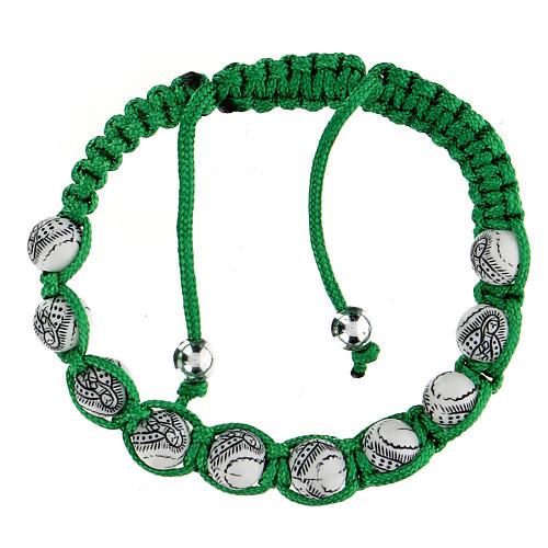 Bracciale Decina Madonna Guadalupe corda verde 5 mm 2