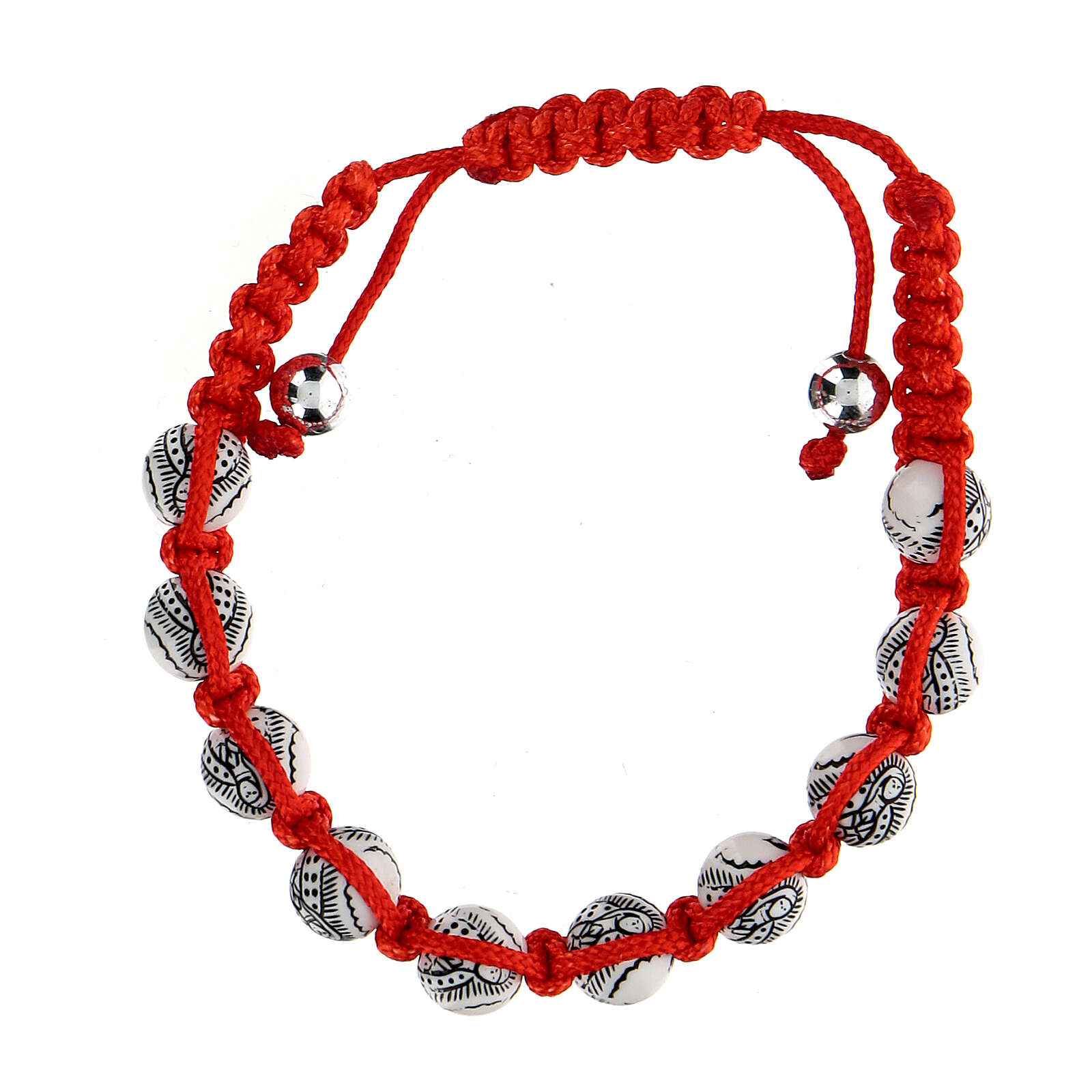 Ten-bead bracelet with Our Lady of Guadalupe in red rope 5 mm 4