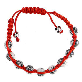 Ten-bead bracelet with Our Lady of Guadalupe in red rope 5 mm s1