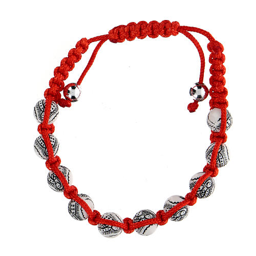 Ten-bead bracelet with Our Lady of Guadalupe in red rope 5 mm 2