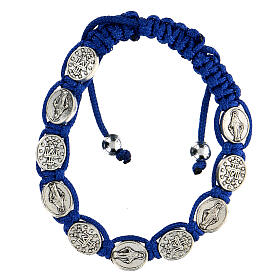 Ten-bead bracelet with the Virgin Mary in blue rope 5 mm s1