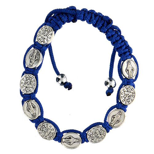 Ten-bead bracelet with the Virgin Mary in blue rope 5 mm 1