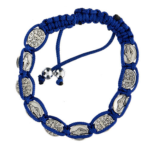 Ten-bead bracelet with the Virgin Mary in blue rope 5 mm 2
