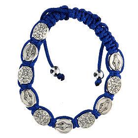 Bransoletka Dziesiątka Madonna niebieski sznurek 6 mm s1
