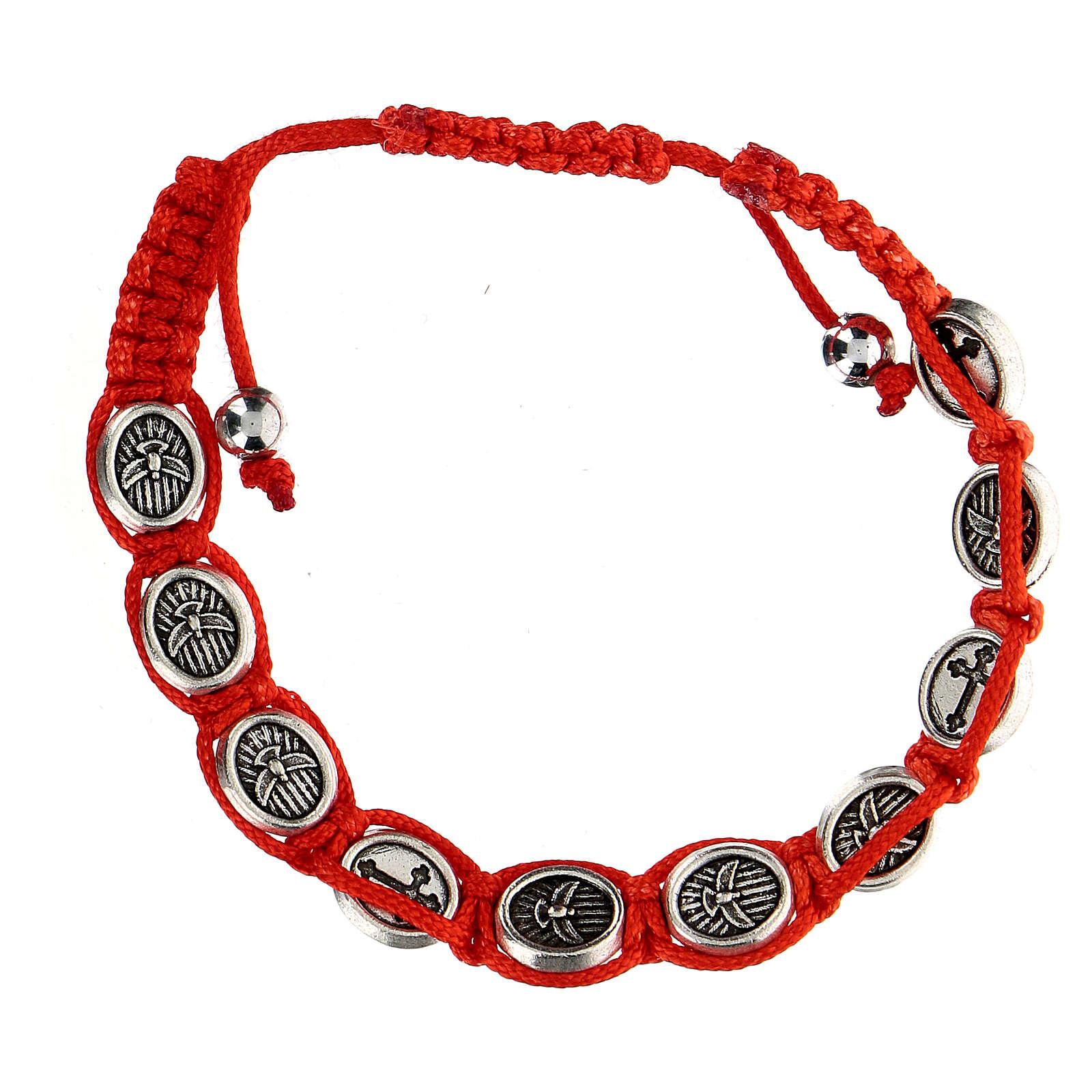 Pulsera Decena Paloma de la Paz cuerda roja 6 mm 4