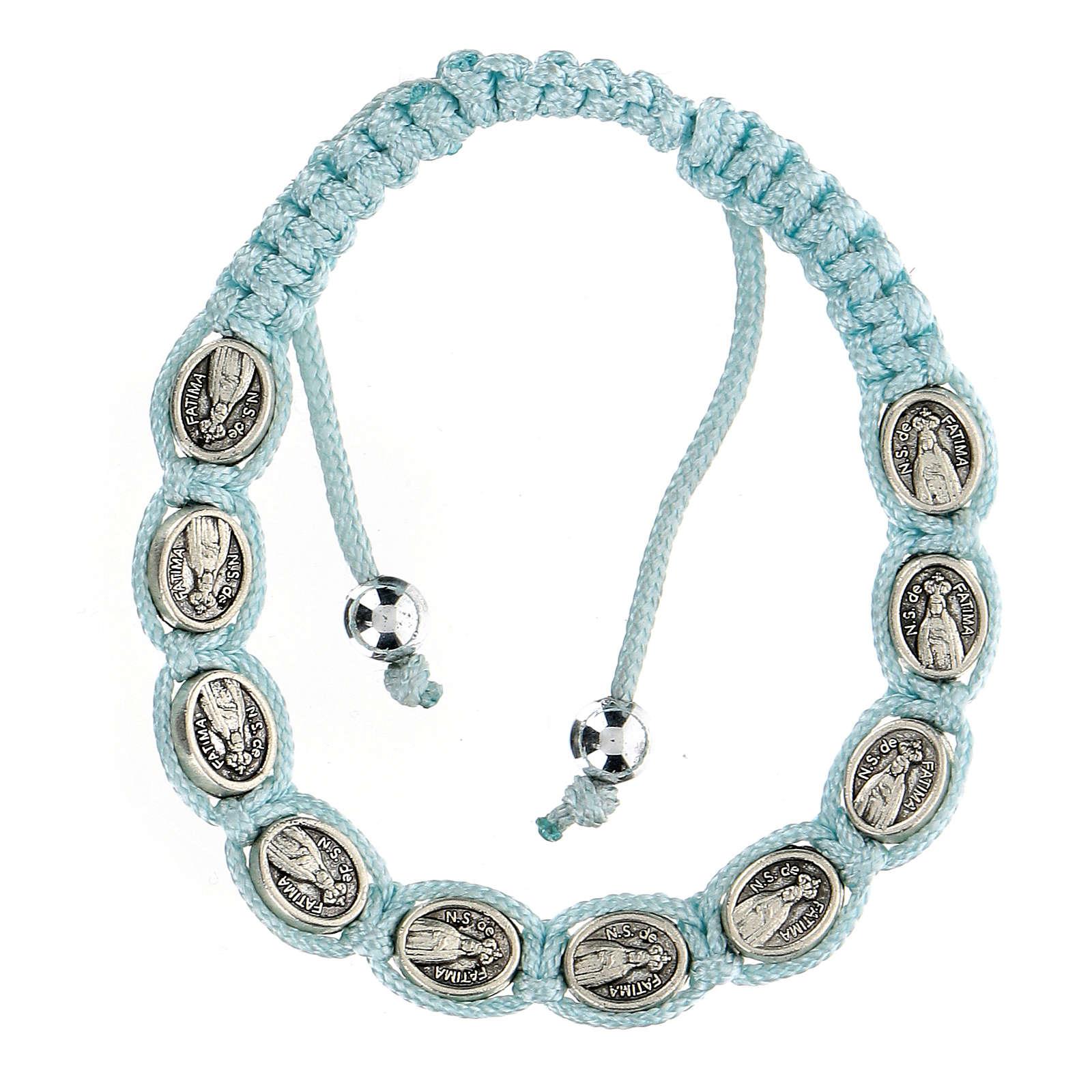Bracciale Decina Madonna di Fatima corda celeste 5 mm 4