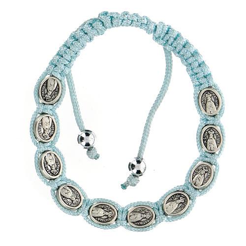 Bracciale Decina Madonna di Fatima corda celeste 5 mm 1