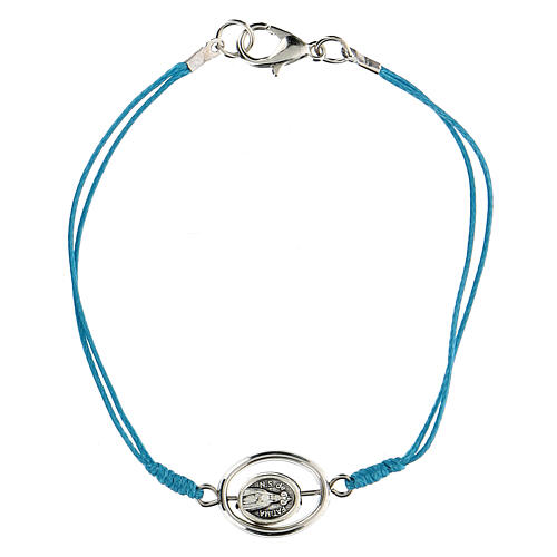 Pulsera Virgen de Fátima cuerda azul 9 mm 1