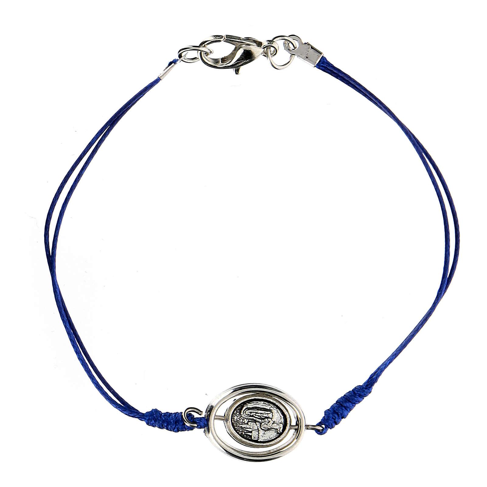 Bracelet Notre-Dame de Lourdes corde bleue 9 mm 4