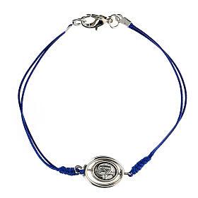 Bracelet Notre-Dame de Lourdes corde bleue 9 mm s1
