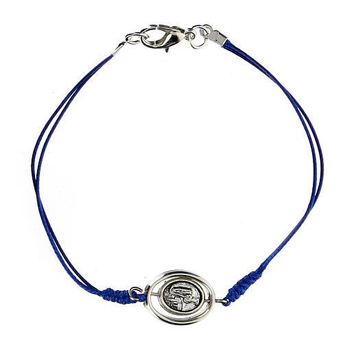 Bracelet Notre-Dame de Lourdes corde bleue 9 mm 1