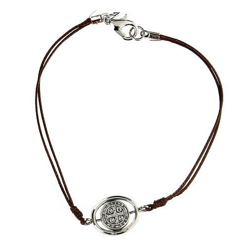 Bracelet Saint Benoît corde marron 9 mm 2