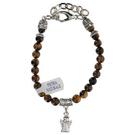 Bracelet with Guardian Angel pendant in Tiger's Eye s2