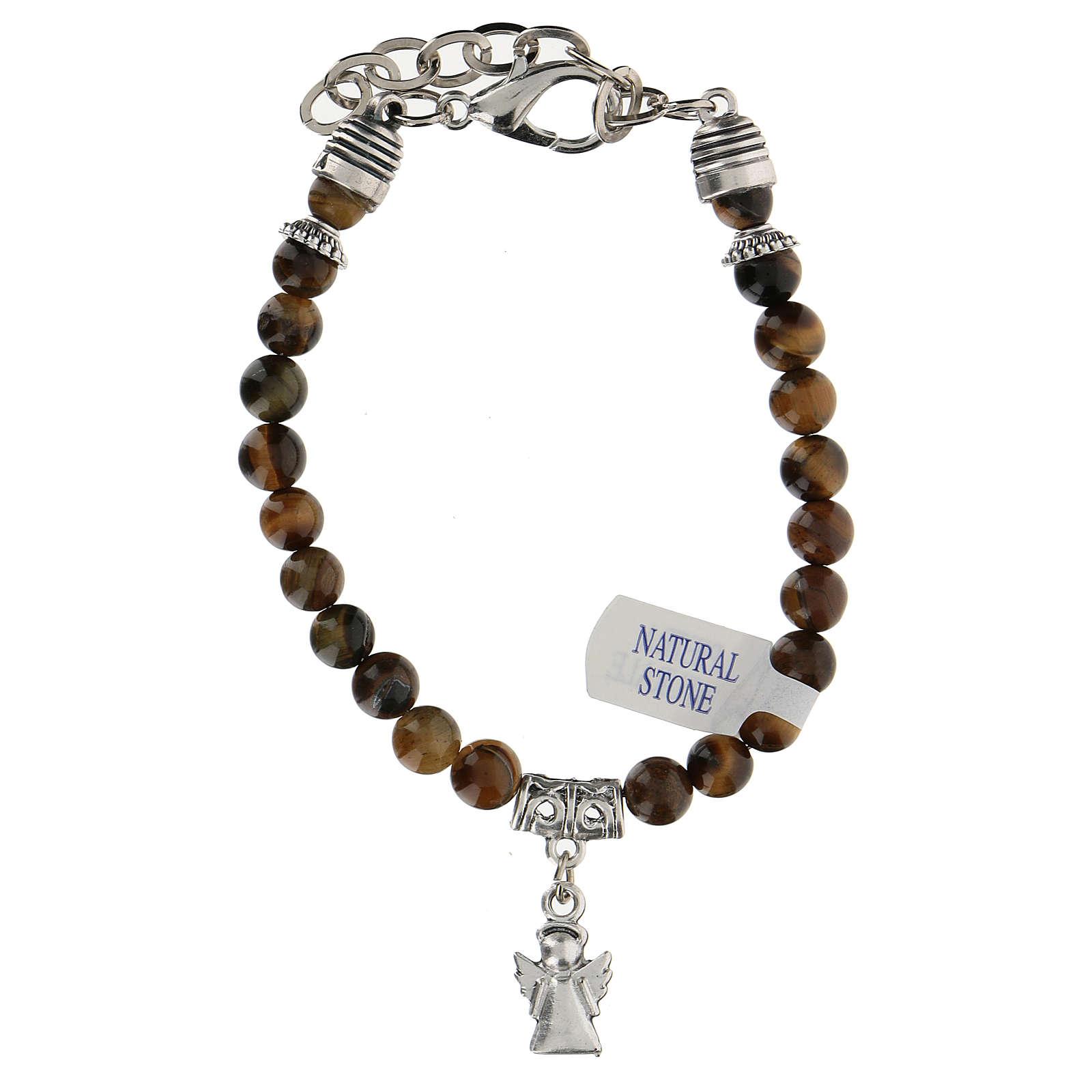 Bracelet avec breloque Ange Gardien et perles en Oeil de Tigre 4