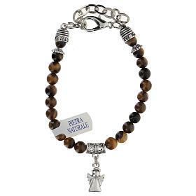 Bracelet avec breloque Ange Gardien et perles en Oeil de Tigre s2